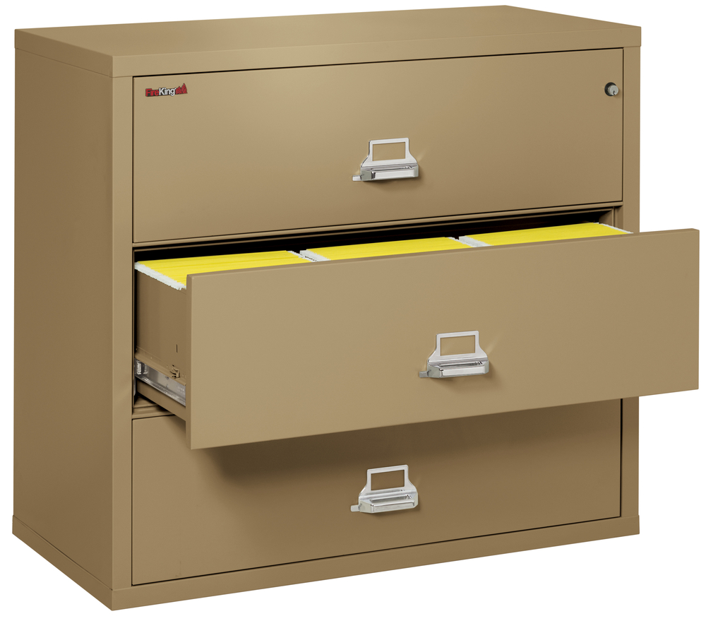 fireproof fireking 3 drawer lateral 44 quot  wide file cabinet