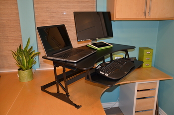 Marathon Elevated Desk | Extra large adjustable desk for dual monitors.